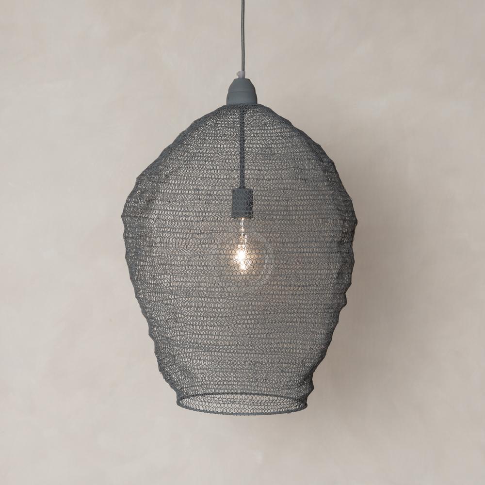 Metal Pendant Light Fitting Grey Ceiling Chandelier